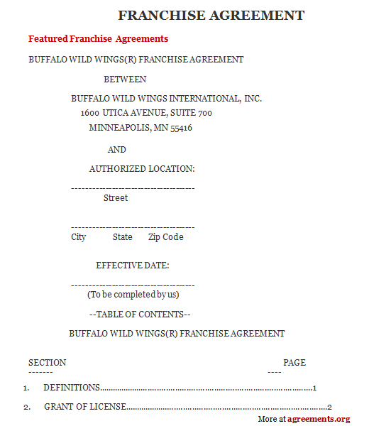 Franchise Agreement Sample Franchise Agreement Template