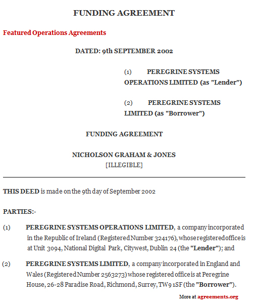 Download Funding Agreement Template