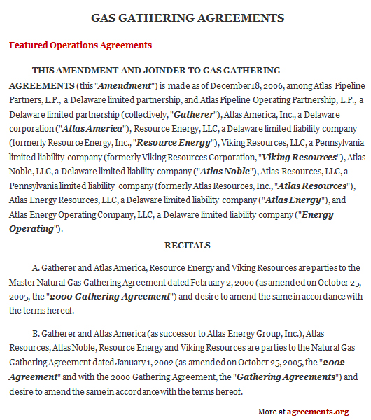 Gas Supply Agreement Template - Download PDF