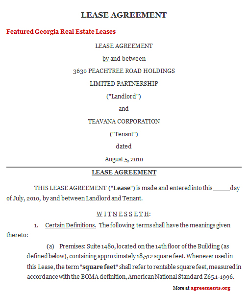 Georgia Lease Agreement, Sample Georgia Lease Agreement Template
