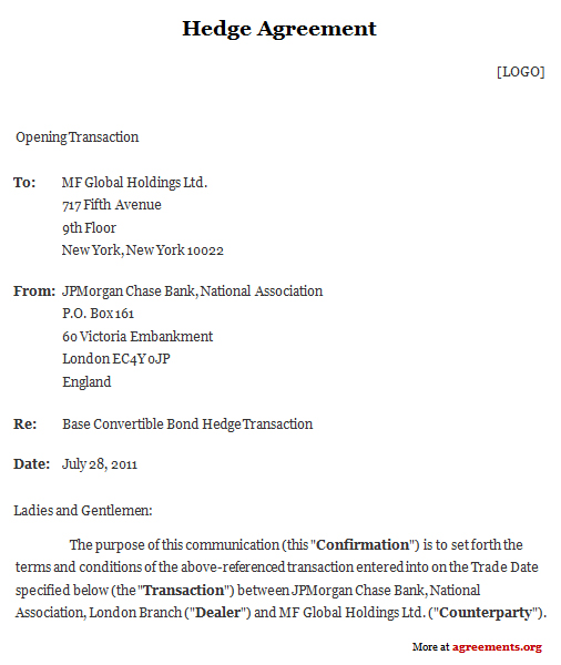 Hedge Agreement Sample Hedge Agreement Template – Convertible Note Agreement Template