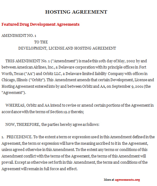Hosting Agreement, Sample Hosting Agreement Template | Agreements.Org
