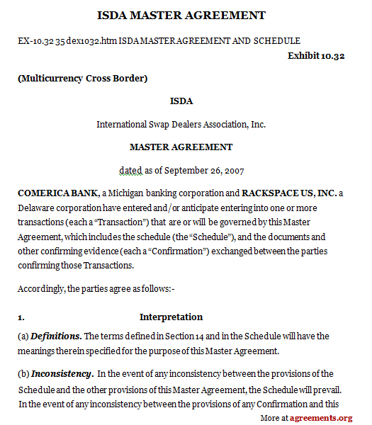Isda Master Agreement Sample Isda Master Agreement Template