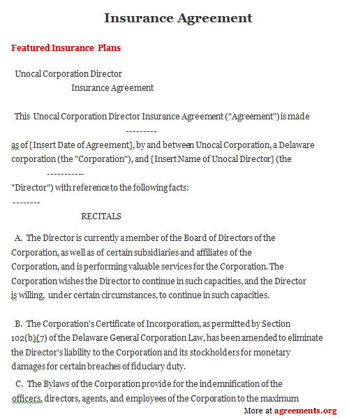 insurance contract template  Insurance Agreement, Sample Insurance Agreement Template