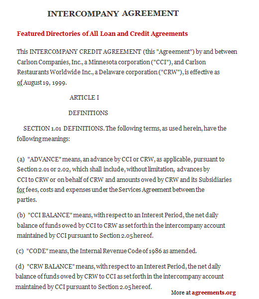 Intercompany Agreement Sample Intercompany Agreement