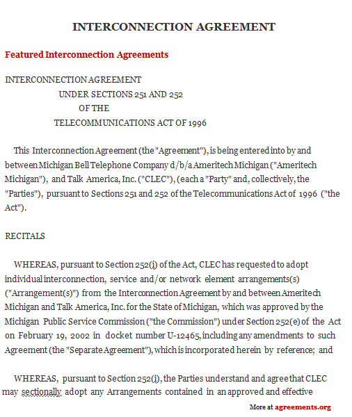 Download Interconnection Agreement Template