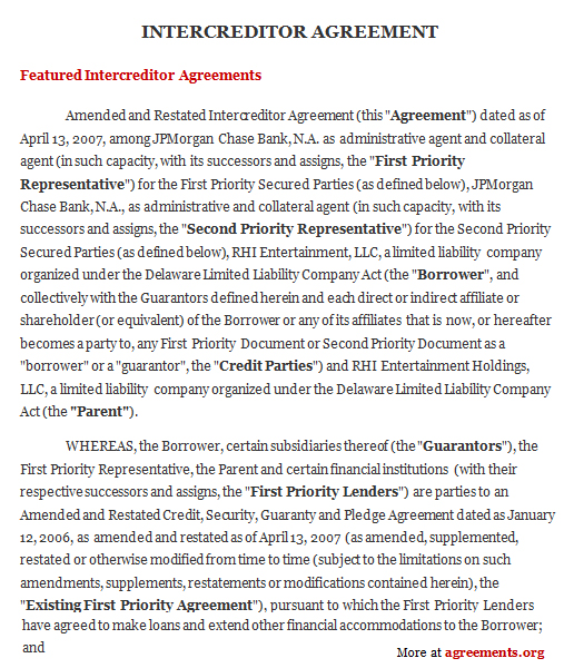 Download Inter-Creditor Agreement Template
