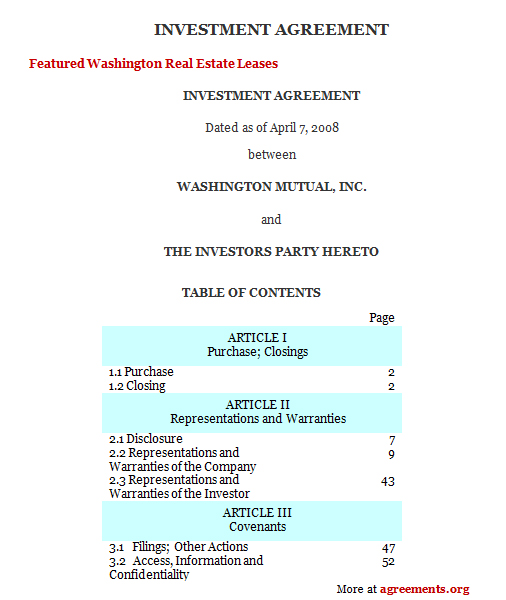 Download Investment Agreement Template