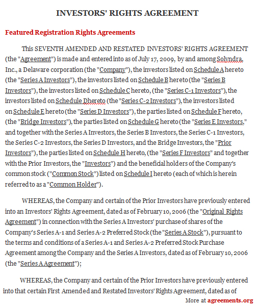investors rights agreement sample investors rights agreement template investors agreements