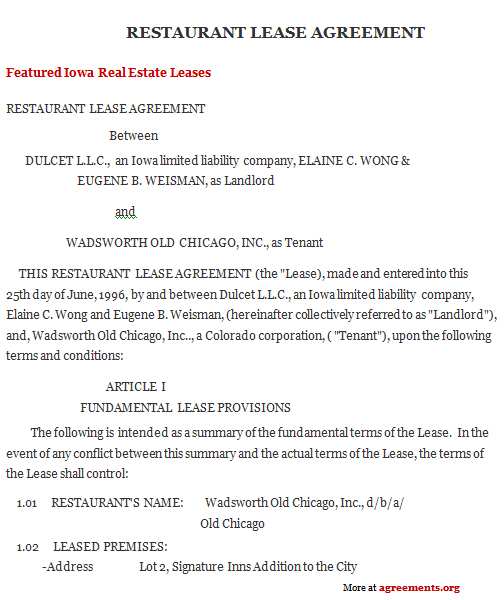 Iowa Lease Agreement Template - Download PDF