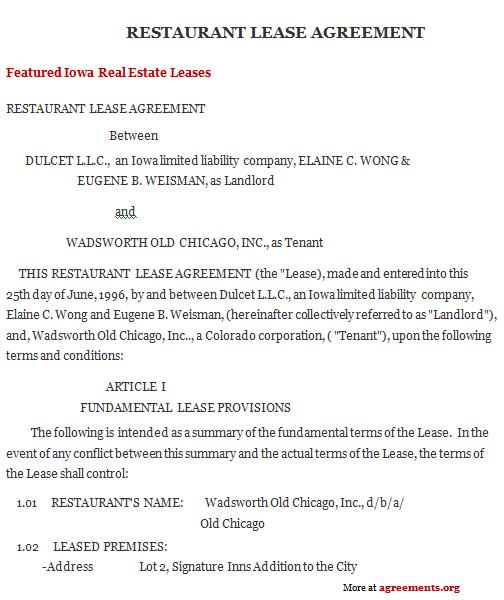 Iowa Lease Agreement Sample Iowa Lease Agreement Template – Leasing Agreement Sample