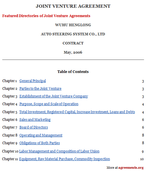 Joint Venture Agreement, Sample Joint Venture Agreement Template