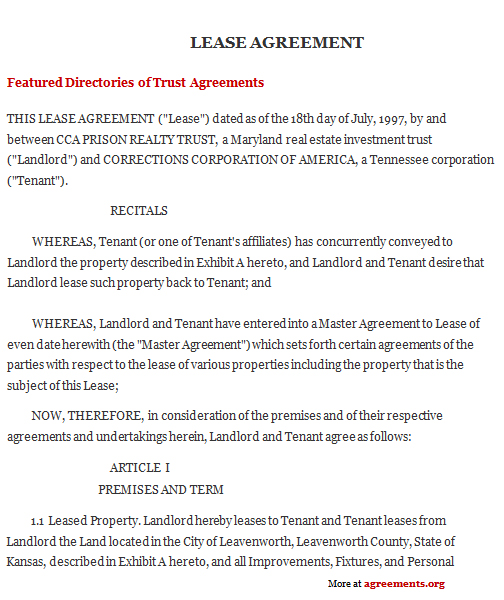 Kansas Lease Agreement Sample Kansas Lease Agreement Template