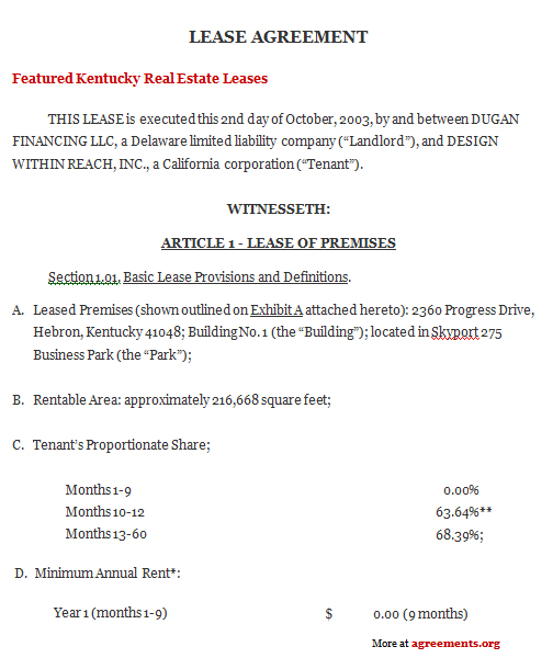 Kentucky Lease Agreement Sample Kentucky Lease Agreement Template