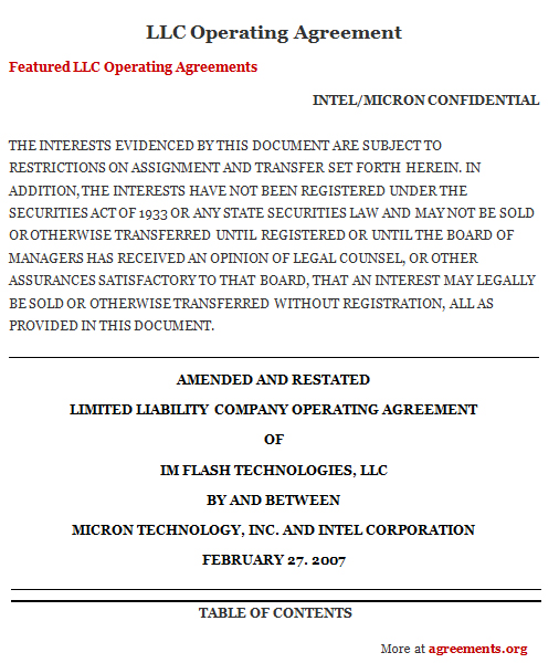 Llc Operating Agreement Sample Llc Operating Agreement