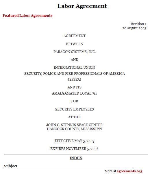 Sample Labor Agreement