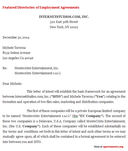 Letter Of Intent Agreement Sample Letter Of Intent Agreement