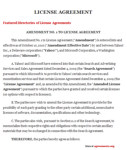 License Agreement Sample License Agreement TemplateagreementsOrg