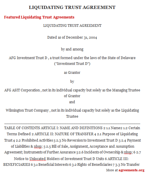 Download Liquidation Trust Template