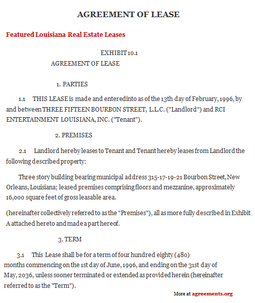 Louisiana Lease Agreement, Sample Louisiana Lease Agreement