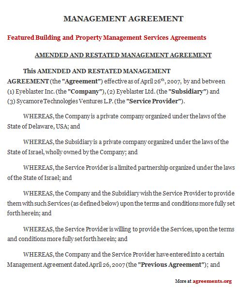 Management Agreement Sample Management Agreement Template