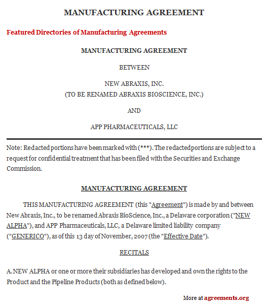 Manufacturing Contract Agreement, Sample Manufacturing Contract