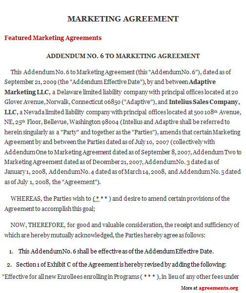 Marketing Agreement, Sample Marketing Agreement Template