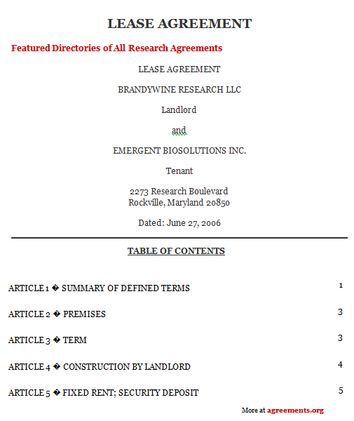 Maryland Lease Agreement Sample Maryland Lease Agreement