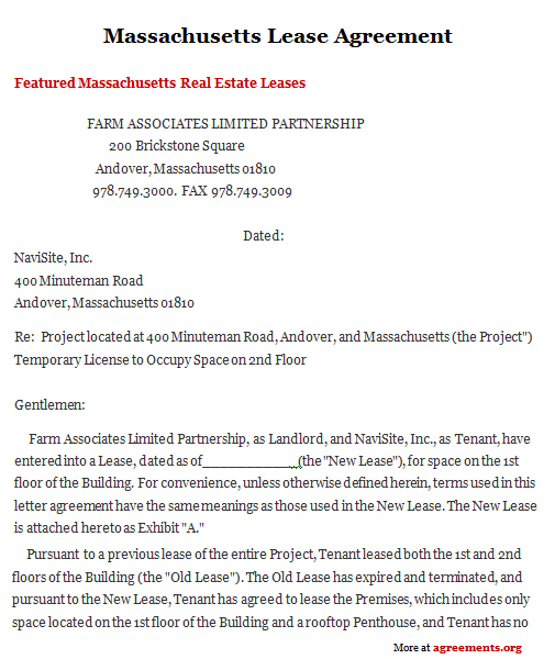Massachusetts Lease Agreement, Sample Massachusetts Lease