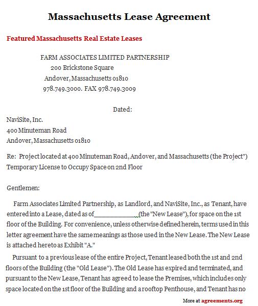 Sample Lease Agreement Massachusetts