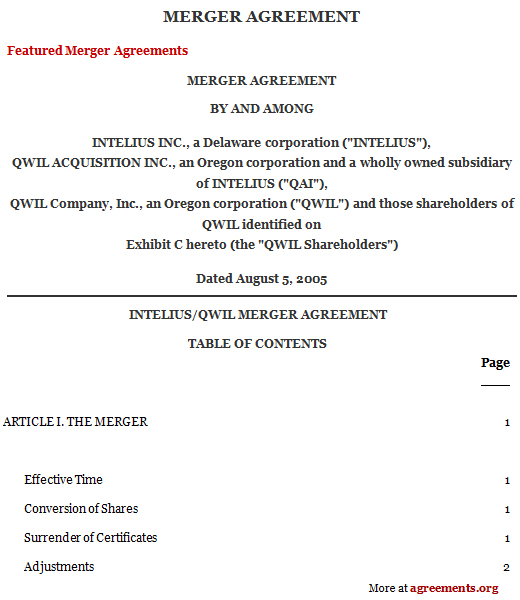 Merger Agreement, Sample Merger Agreement Template | Agreements.Org