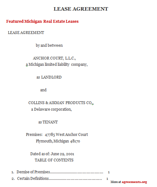 Michigan Lease Agreement Agreementsagreements