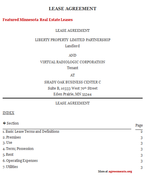 Download Minnesota Lease Agreement Template