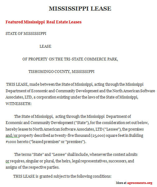 Mississippi Lease Agreement Sample Mississippi Lease Agreement Template