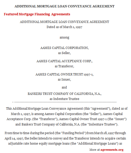 Mortgage Financing Agreement, Sample Mortgage Financing Agreement