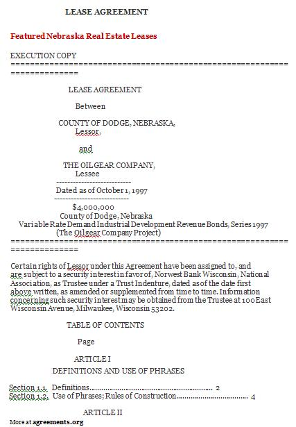 Nebraska Lease Agreement Template - Download PDF