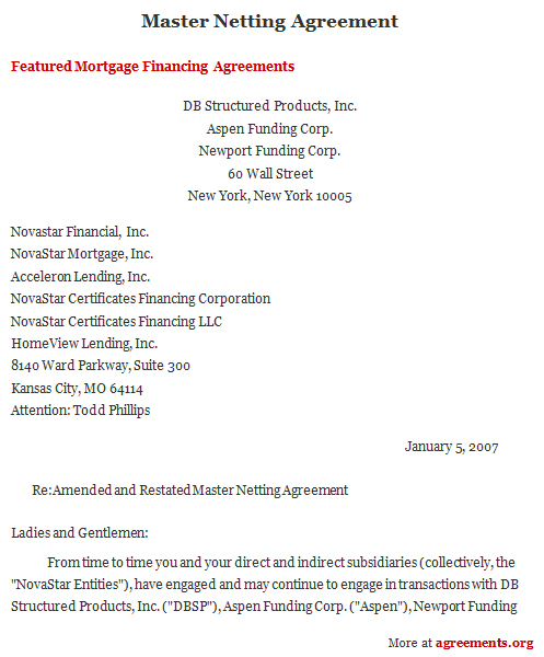 Netting Agreement, Sample Netting Agreement Template | Agreements.Org