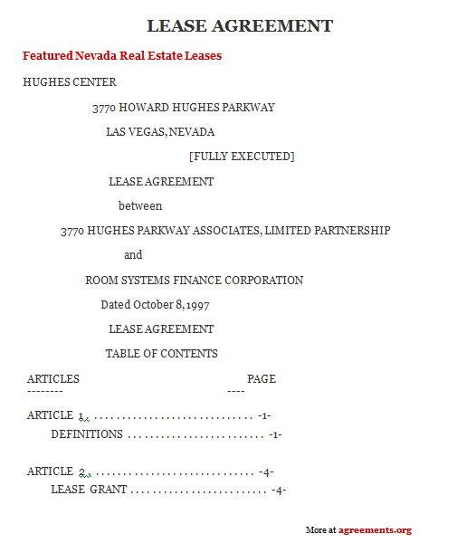 Nevada Lease Agreement Sample Nevada Lease Agreement Template