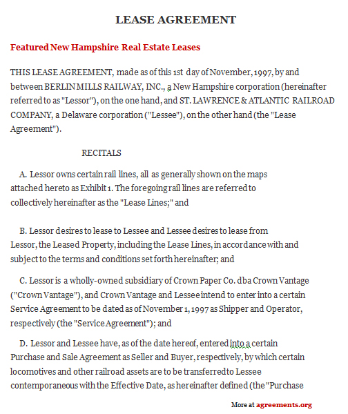 New Hampshire Lease Agreement, Sample New Hampshire Lease