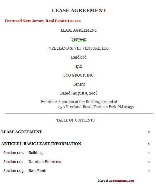 New Jersey Lease Agreement, Sample New Jersey Lease Agreement