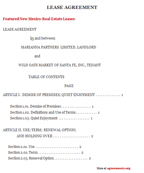 New Mexico Lease Agreement Sample New Mexico Lease Agreement