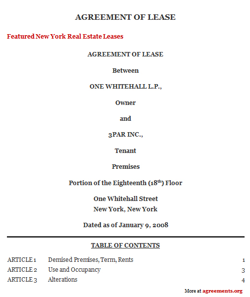 New York Lease Agreement, Sample New York Lease Agreement Template