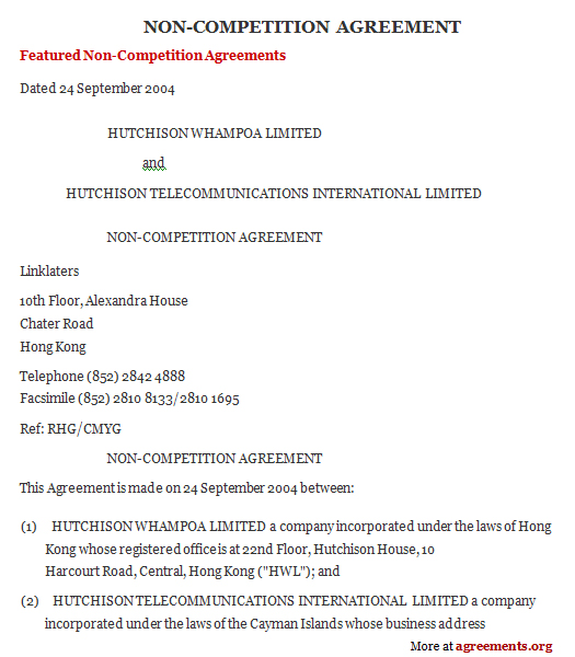 Sample Non-Compete Agreement