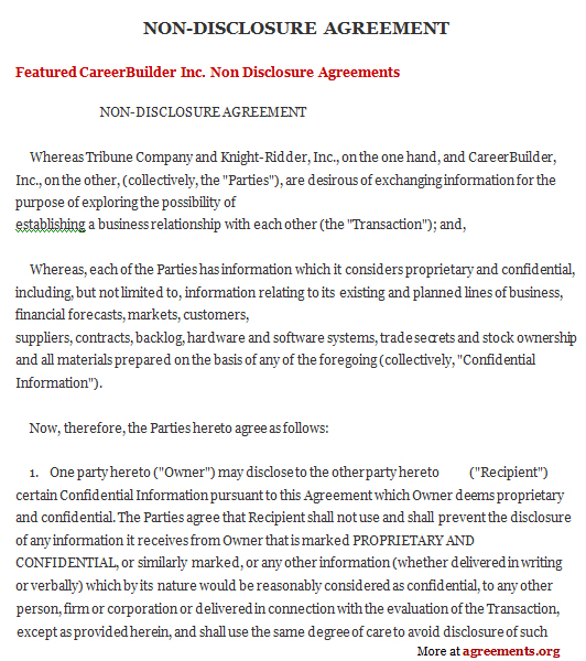 NonDisclosure Agreement Sample NonDisclosure Agreement Template
