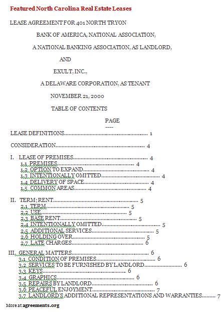 Download North Carolina Lease Agreement Template