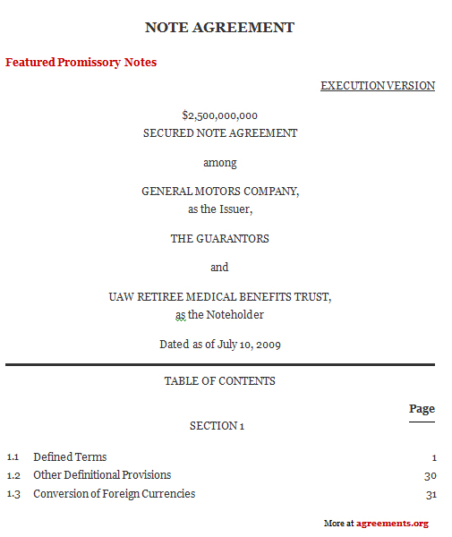 Note Agreement Template - Download PDF