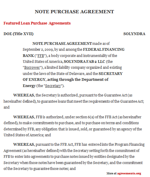 Note Purchase Agreement Sample Note Purchase Agreement