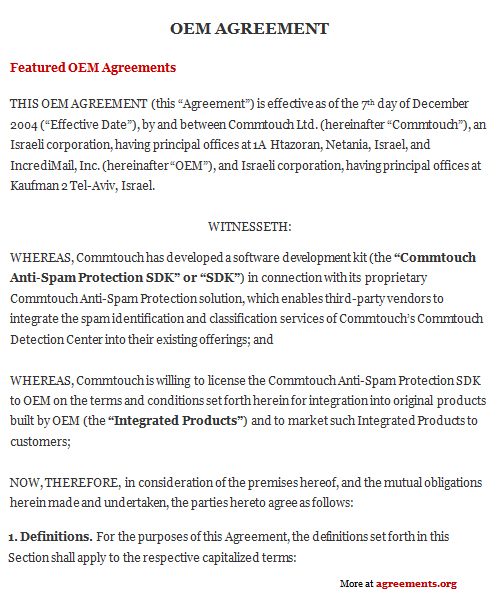 Download OEM Agreement Template