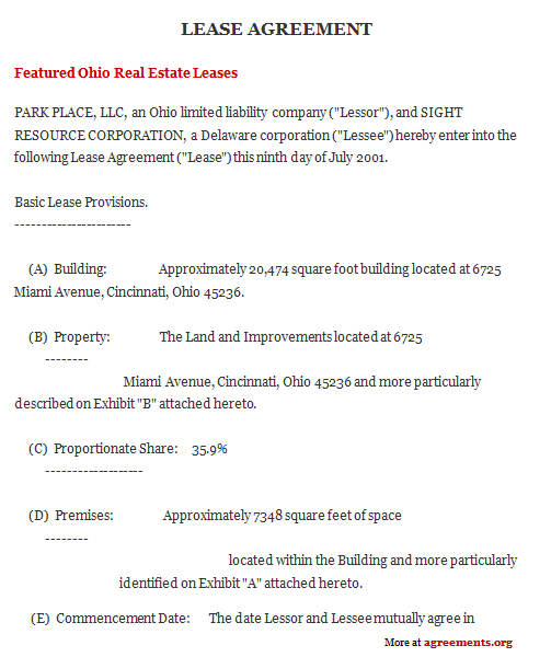 Ohio Lease Agreement, Sample Ohio Lease Agreement Template