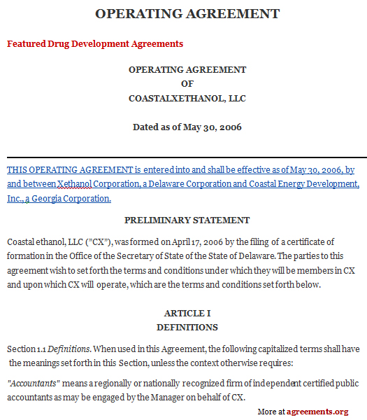 Operating Agreement Sample Operating Agreement TemplateagreementsOrg